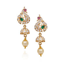 earrings in grt jhumki earrings fancy peacock hanging with pearl drop diamond