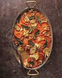 sweet potato cauliflower gratin with crispy leaves