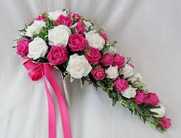 wedding flowers pink artificial wedding flowers brides teardrop bouquet in ivory
