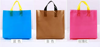 qi 50pcs lot colorful plastic shopping bag wholesale custom