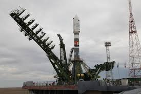 soyuz rocket reaches baikonur launch pad for friday liftoff with