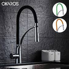 kitchen faucet black finish 2018 okros pull out kitchen faucet black chrome finish dual