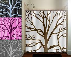 Kids Fabric Shower Curtain - brown tree branches shower curtain bathroom decor fabric kids