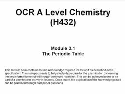 what is the purpose of the periodic table ocr a level chemistry h432 module 3 1 the periodic table by