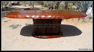 Redwood Dining Table Hand Crafted Live Edge Wood Slab Curly Redwood Dining Table With