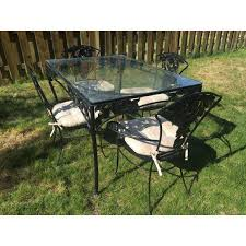 vintage woodard wrought iron patio set pomegranate pattern table