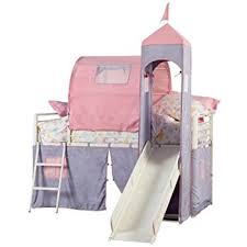 Amazoncom Powell Princess Castle Twin Tent Bunk Bed With Slide - Tent bunk bed