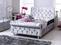 Velvet Sleigh Bed New Cheshire Crushed Velvet Sleigh Bed With Memory Mattress 3ft