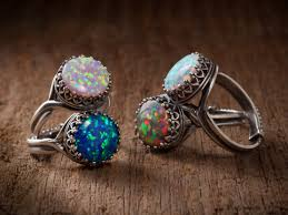 opal october opal ring in silver filigree with your choice of black pink white