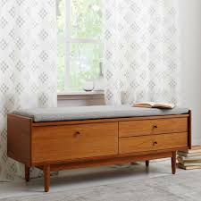 Cushioned Storage Bench Decorating Mid Century Entryway Storage Bench With Cushion Seat