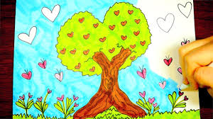 tree drawing valentine u0027s day pictures for kids youtube