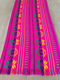 Mexican Table Runner Beautiful Folkloric Mexican Colorful Embroidered Pink Table Runner