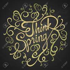 think spring quotes on florist circle hand drawn swirls on
