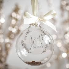 personalised initial and wedding date bauble messages
