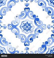 delft blue style seamless pattern image photo bigstock