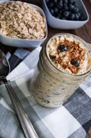 overnight oats with blueberries and cream feasting not fasting