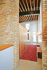 tremendous hallway decoration with brick wall decor combined red