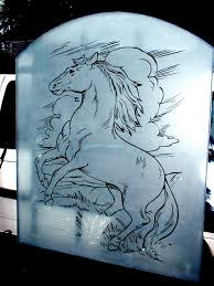 horse etched glass