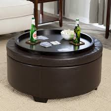 Leather Ottoman Round by Contemporary Round Black Leather Ottoman Coffee Table With Tray