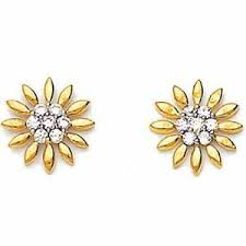real gold earrings avsar real gold and diamond sun flower shape earring ave025