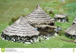 traditional quechua houses in mountains stock photo image