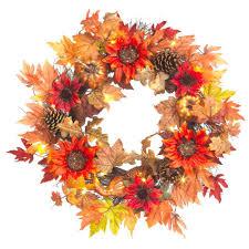 pre lit fall garland u0026 wreaths fall decorations the home depot