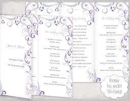 trifold wedding programs trifold wedding program template wisteria and silver