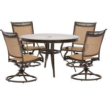 Round Patio Furniture Set by Hanover 5 Piece Aluminum Outdoor Dining Set With Round Glass Top