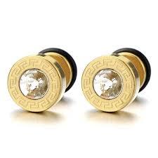 mens gold stud earrings 10mm steel mens gold stud earrings back with key