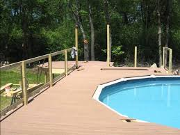 above ground wood pool deck hingham ma youtube