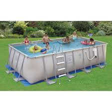 PRO Series Rectangular Metal Frame Swimming Pool Package