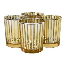 striped votive candle holders 3 gold 424480 wholesale