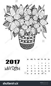 march 2017 calendar line art black stock vector 506705140