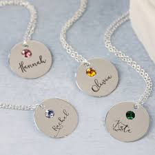 personalised name necklace personalised sterling silver birthstone necklace angel