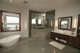 Bathroom Modern Vanities - charleston river stone tile bathroom contemporary with arched