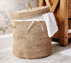 Pottery Barn Baskets With Liners Crochet Weave Lidded Hamper U0026 Basket Pottery Barn