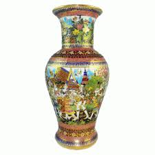 Hand Painted Vase Thailand Pottery Benjarong Hand Painted Porcelain Ceramics