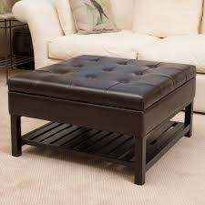 Large Storage Ottoman Coffee Table Awesome Round Leather Tufted Ottoman Blue Tufted