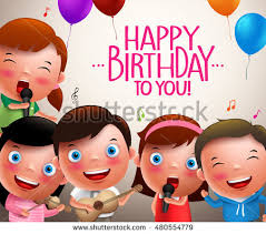 singing happy birthday kids vector characters singing happy birthday stock vector