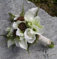 woodland real touch silk calla lily u0026 rose hand tied wedding