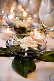Pedestal Bowls For Centerpieces Floating Gardenia Centerpieces High Top Tables Magnolia Leaves