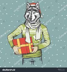 christmas vector dog concept husky vector stock vector 537116506