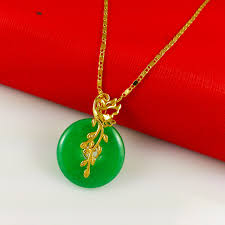 jade with gold necklace images Fashion jewelry 24k gold necklaces pendants classic women 39 s jpg