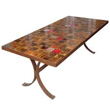 Tiled Patio Table 1960s Dining Table With Ceramic Tiled Top For Sale At 1stdibs