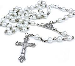 glass cross necklace images White long rosary glass beads cross in silver cross necklace for jpg
