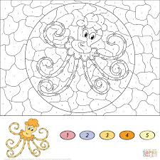 crab color by number free printable coloring pages