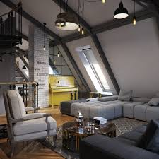 stunning rustic industrial apartment interior design with l shaped