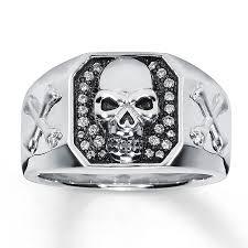 skull wedding ring sets jared men s diamond skull ring 1 6 ct tw cut sterling silver
