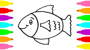 how to draw fish coloring pages art fish learn colors with