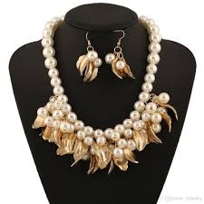 short chain pearl necklace images Fashion jewelry sets multi layered white imitation pearl necklace jpg